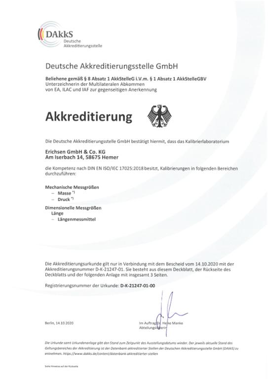 Kalibratie DakkS certificaat